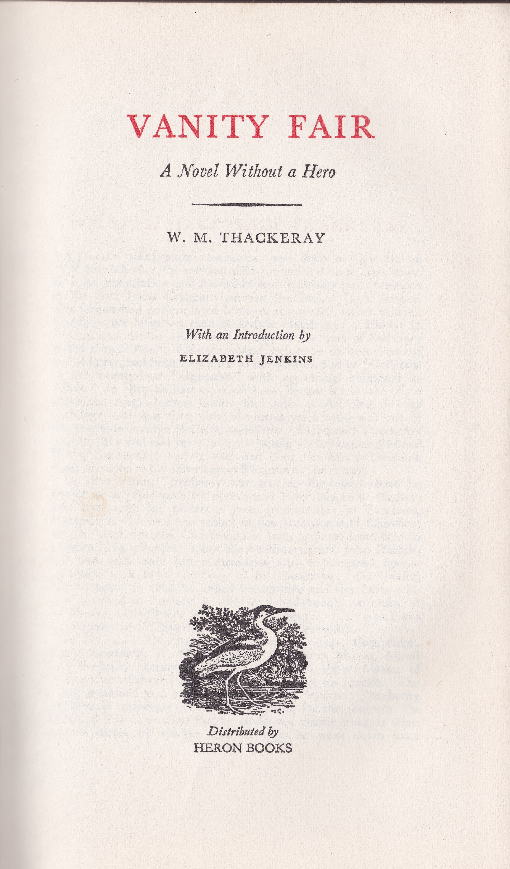 Secondhand Used Book - VANITY FAIR by W M Thackeray